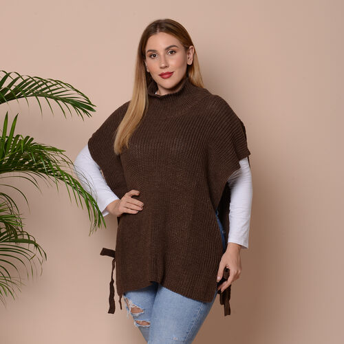 High Collar Knit Vest with Adjustable Strap on Sides (Size 68x70cm) - Brown