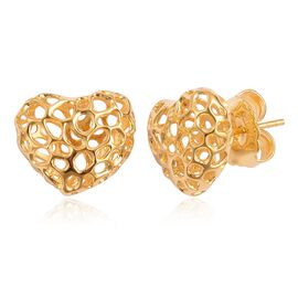 RACHEL GALLEY Yellow Gold Overlay Sterling Silver Amore Heart Stud Earrings (with Push Back)
