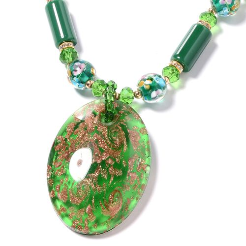Murano Style Glass, Ceramic, Simulated Emerald, White Austrian Crystal and Multi Colour Beads Necklace (Size 26 with 2.50 inch Extender) in Yellow Bond