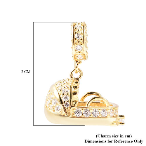 Charmes De Memoire - Simulated Diamond Cradle Charm in Yellow Gold Overlay Sterling Silver Charm/Pendant