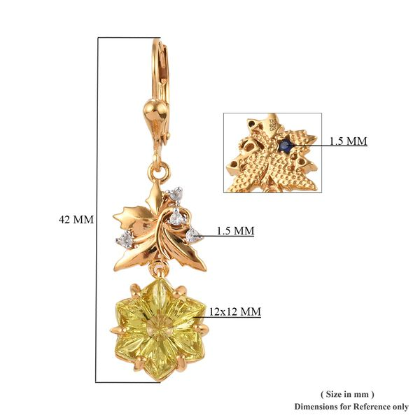 Limited Edition - GP Lotus Cut Brazilian Green Gold Quartz, Cambodian Zircon and Blue Sapphire Lever Back Earrings in 14K Gold Overlay Sterling Silver 11.16 Ct, Silver wt 5.70 Gms