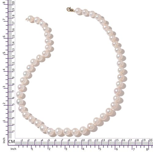 Limited Edition- 9K Yellow Gold- AAA High Lustre Freshwater White Pearl (Rnd 9-11mm) Ball Necklace (Size 20)