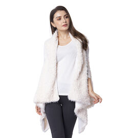Designer Inspired White Colour Faux Fur Gilet Size 155x75 Cm