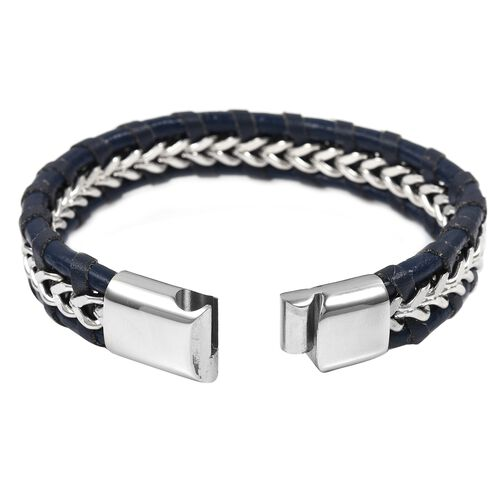 Designer Inspired- Black Genuine Leather Bracelet (Size 8.5) in Silver Plated Stainless Steel