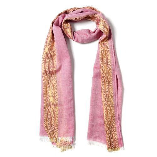 Wine Red Colour Golden Trim Pattern in 2 Side Scarf (Size 180x68 Cm)