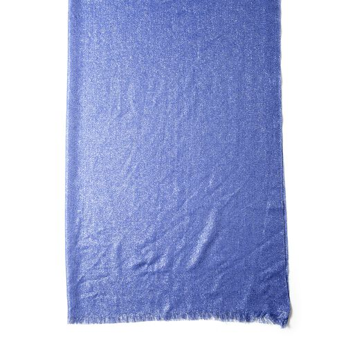 Designer Inspired-Blue and Silver Colour Scarf with Solid Colour (Size 200x100 Cm)