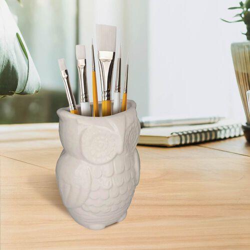 Owl Design Ceramic Multipurpose Holder (Size 19x9cm) - White