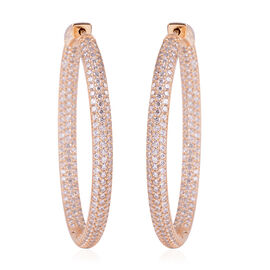 ELANZA Simulated Diamond (Rnd) Hoop Earrings (with Clasp) in 14K Gold Overlay Sterling Silver, Silver wt 12.50 Gms