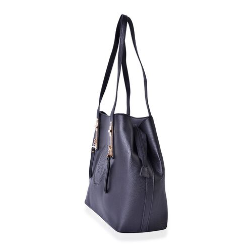 YUAN COLLECTION Dazzling Black Large Tote Bag with External Zipper Pocket (Size 32.5x28.5x14 Cm)