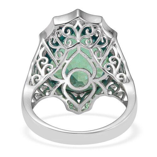 Peacock Triplet Quartz (17.75 Ct) Platinum Overlay Sterling Silver Ring  17.750  Ct.