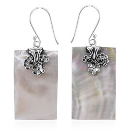 Mother of Pearl Drop Earrings with Hook in Silver