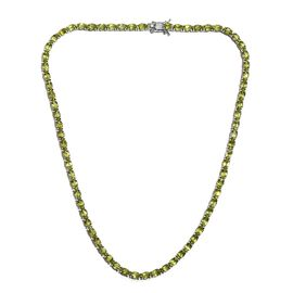 35.50 Ct Hebei Peridot Tennis Necklace in Platinum Plated Sterling Silver 20.70 Grams 18 Inch