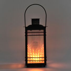 Garden Decoration Hanging Lantern in Yellow Light (Size 12x12x23 Cm) - Spots Pattern Black (3xAAA Ba