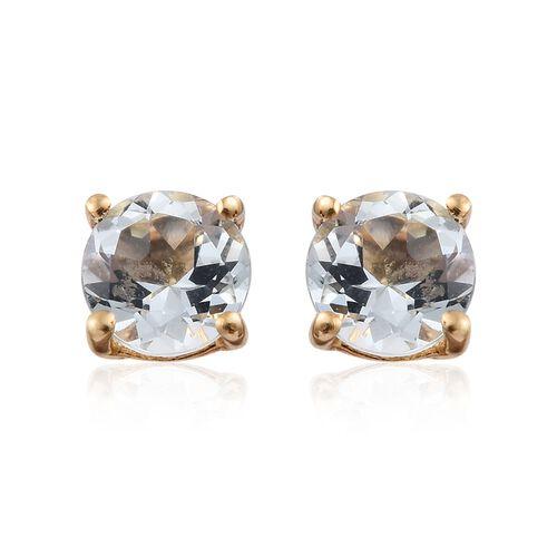 Espirito Santo Aquamarine (Rnd) 0.75 Carat Silver Stud Earrings in 14K Gold Overlay (with Push Back)