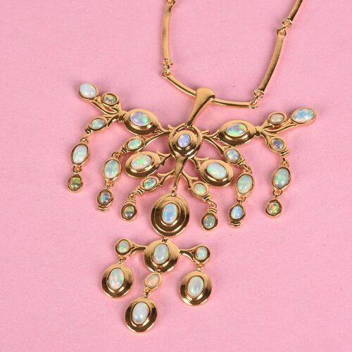 AA Ethiopian Welo Opal Necklace (Size 18 with 2 inch Extension) in 14K Gold Overlay Sterling Silver 7.75 Ct, silver wt. 30.00 Gms