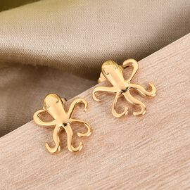 14K Gold Overlay Sterling Silver Octopus Earrings