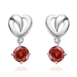 ELANZA Simulated Orange Sapphire (Rnd) Earrings (with Push Back) in Platinum Overlay Sterling Silver