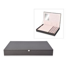 Leatherette Black Rectangular Jewellery Box with 13 Ring Rows, 24 Sections and Mirror Inside (Size 3