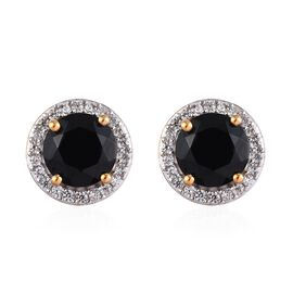 8 Carat Boi Ploi Black Spinel and Zircon Stud Halo Earrings in 14K Gold Plated Silver
