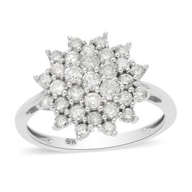 9K White Gold SGL Certified White Diamond (I3/G-H) Cluster Ring 1.00 Ct.
