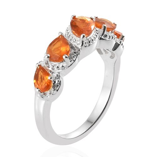 Jalisco Fire Opal (Pear) Five Stone Ring in Sterling Silver 1.000 Ct.