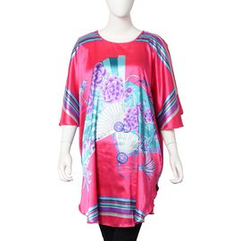 Designer Inspired - Fan Print Kaftan (Free size) - Fushia