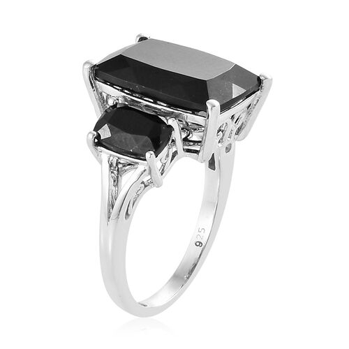 Black Tourmaline (Cush) Trilogy Ring in Platinum Overlay Sterling Silver 8.250 Ct.