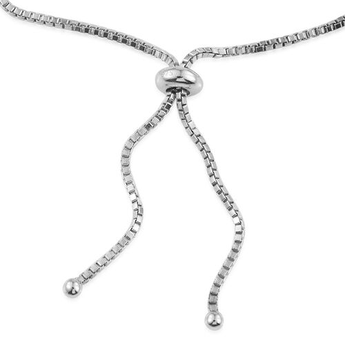 Diamond (Rnd) Adjustable Bracelet (Size 6.5 to 8) in Platinum Overlay Sterling Silver 0.250 Ct.