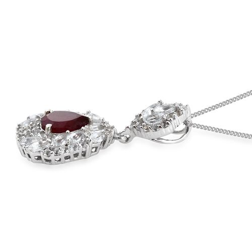 African Ruby (Pear 2.15 Ct), White Topaz Pendant with Chain in Platinum Overlay Sterling Silver 4.750 Ct.