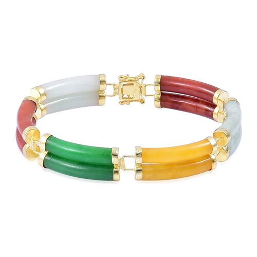 7.5 Inch Multi Colour Jade Bracelet in Gold Plated Sterling Silver