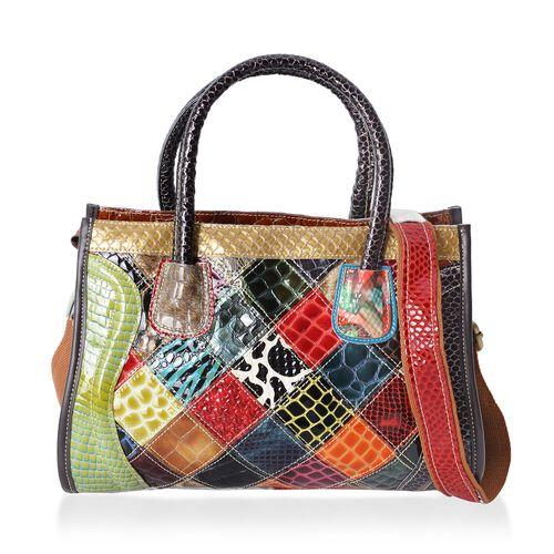 100% Genuine Leather Multi Colour Tote Bag with External Zipper Pocket and Adjustable Shoulder Strap (Size 31x22x13 Cm)