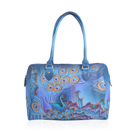SUKRITI Limited Collection 100% Genuine Leather Blue  Colour Hand Painted Peacock Large Shoulder Bag (Size 38x30.5x13 Cm)