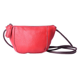 Genuine Leather Middle Size Crossbody Bag - Red