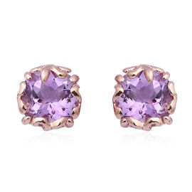 Rose De France Amethyst (Cush 11 mm) Stud Earrings (with Push Back) in Rose Gold Overlay Sterling Si