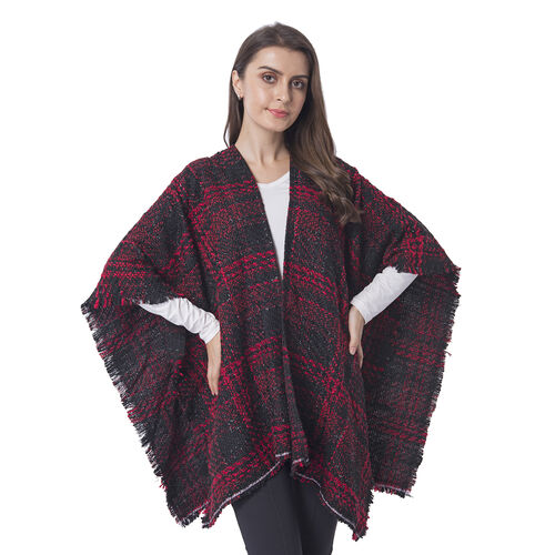 One Time Close Out Deal- Red Colour Checkers Pattern Shawl Size 74X105 cm