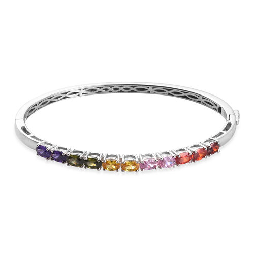 AA Simulated Peridot and Multi Gemstone Stacker Bangle in Platinum Plated 7.5 Inch