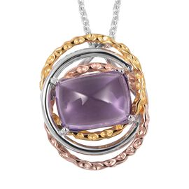 Limited Edition-RACHEL GALLEY Sugarloaf Cut Amethyst Allegro Pendant with Chain (Size 30) in Tri Col