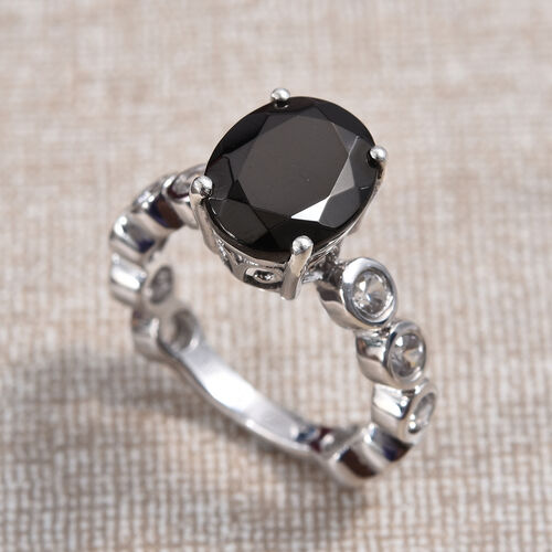 GP Elite Shungite (Ovl 11x9 mm), Natural Cambodian Zircon and Blue Sapphire Ring in Platinum Overlay Sterling Silver 3.50 Ct.