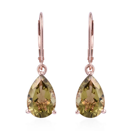 Finch Quartz (Pear 12x8 mm) Earrings (with Lever Back) in Rose Gold Overlay Sterling Silver 7.000 Ct.