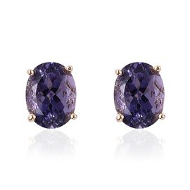 9K Yellow Gold AA Iolite (Ovl 8x6 mm) Stud Earrings (with Push Back) 2.000 Ct.
