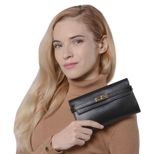 Monster Deal - Super Soft  Genuine Leather Clutch RFID Wallet (Size 19x2x10cm)  - Black