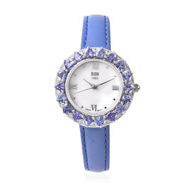 Limited Edition- Tanzanite and Natural Cambodian Zircon Watch in Sterling Silver 4.32 Ct, Silver wt.