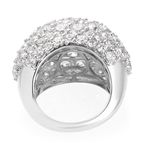 J Francis Platinum Overlay Sterling Silver Cluster Ring Made with SWAROVSKI ZIRCONIA 15.90 Ct