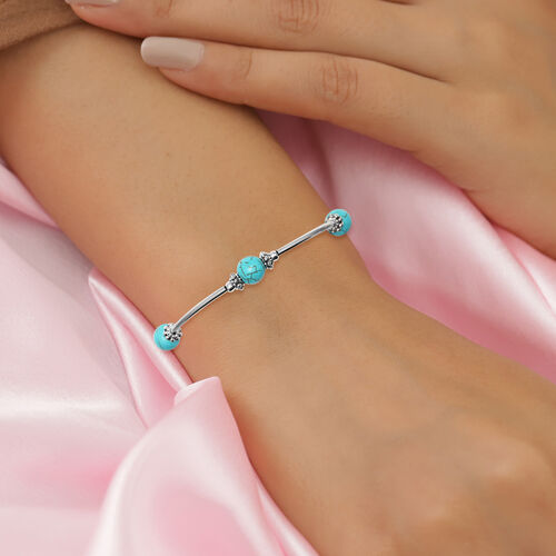 Blue Howlite Bracelet  (Size - 7.5 with 2.5 Extender) in Silver Tone 12.50  Ct.