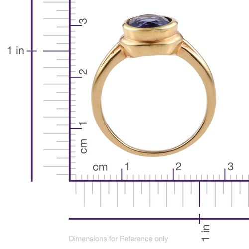 Colour Change Fluorite (Ovl) Solitaire Ring in 14K Gold Overlay Sterling Silver 4.250 Ct.