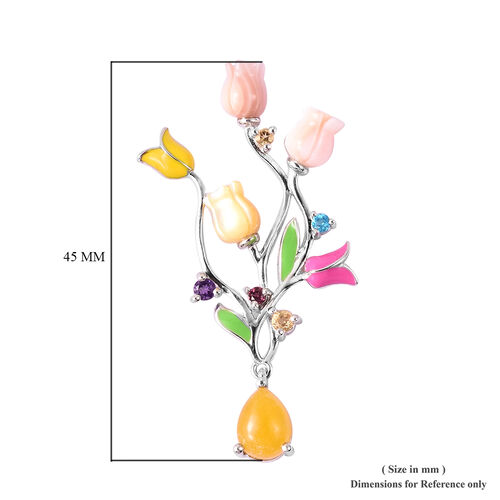 Jardin Collection - Yellow Jade (3.00 Ct.), Pink Mother of Pearl and Multi Gemstone Tuilp Dangle Enamelled Earrings in Rhodium Overlay Sterling Silver, Silver wt. 5.04 Gms