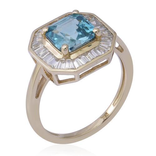 9K Yellow Gold Ratanakiri Blue Zircon and Natural Cambodian Zircon Ring 2.94 Ct.