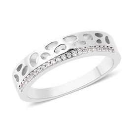 RACHEL GALLEY - Natural Cambodian Zircon Latticwork Band Ring in Rhodium Overlay Sterling Silver
