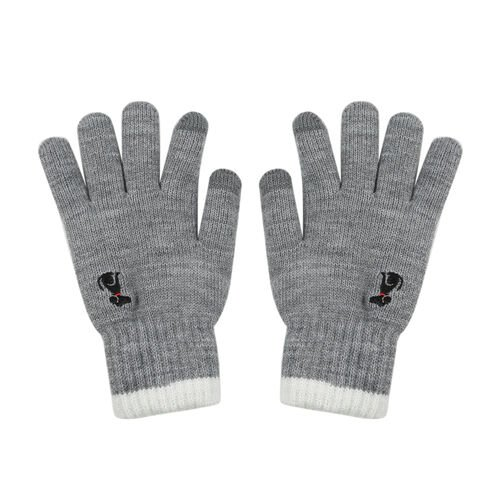Ladies Warm Gloves with Embroidered Dog(One Size) - Grey