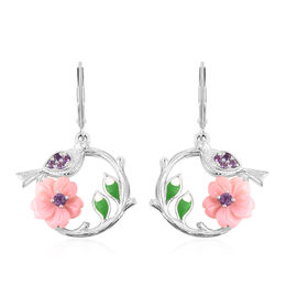 Jardin Collection - Pink Mother of Pearl and Amethyst Floral Bird Drop Lever Back Enamelled  Earring